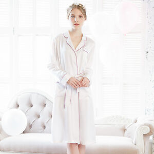 a55a67e91f NEW LILYSILK 22 Momme Classic Collar Silk Robe With Contrast Trim ...