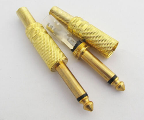 """NEW 10 pack 1//4/"""" male Mono TS audio cable jack connector Gold Plated plugs USA**"""