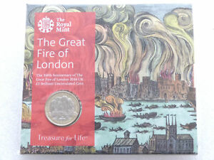 """2016 UK £2 coin. """"THE FIRE OF LONDON"""". Mint/sealed. 350th anniversary"""
