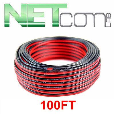 NETCOMLAB 328/' Feet 12 Gauge GA Red Black 2 Conductor Speaker Wire Audio Cable