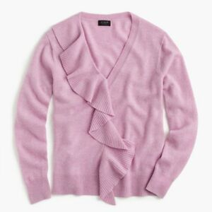 New J.Crew Ruffle Sweater in Everyday Cashmere Heather Orchid Pink ... ff0f090b68b3