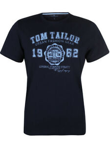 Tom Tailor Herren T-Shirt S M L XL XXL 3XL Basic Logo Print Shirt 100% Baumwolle