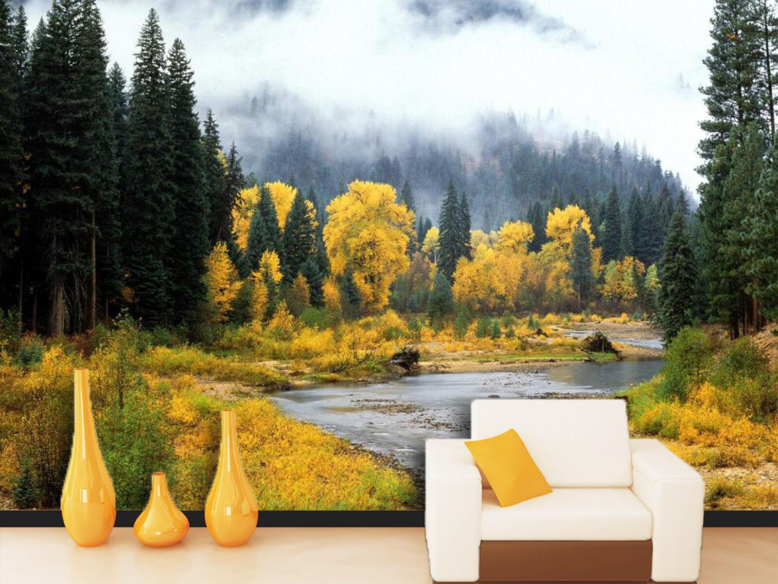 3D Die gelben und Grünen Wald Fototapeten Wandbild Fototapete BildTapete Familie