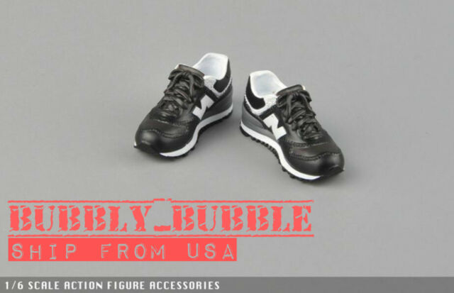 "1//6 Sneakers BLACK For 12/"" Hot Toys TBLeaghe Hot Toys Male Figure SHIP FROM USA"