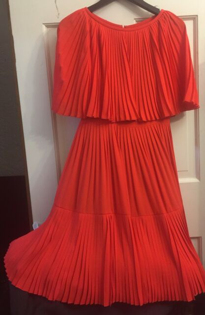 48c96dbe44d Kate Spade Red Pleated Persimgror Cape Sz 0 Dress for sale online