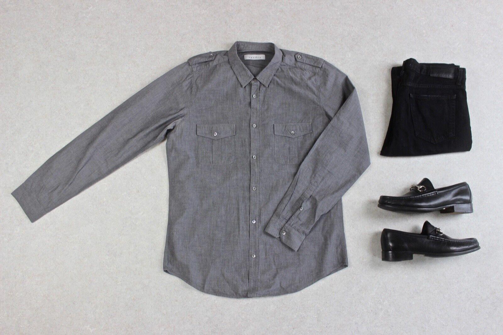 a50ac6c3686 Sandro - Shirt - Grey - Large ncrkna166-Casual Button-Down Shirts ...