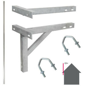 10-Foot-3-05m-TV-Aerial-Pole-amp-T-K-Bracket-Long-Mast-Wall-Mounting-Install-Kit