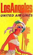 VINTAGE LOS ANGELES UNITED AIRLINES TRAVEL A3 POSTER PRINT