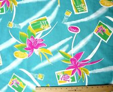 New Haber Fabrics Bright Turquoise Magenta Orchids Travel Theme Cotton Fabric