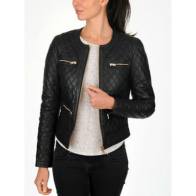 Women's Slim Fit Black Quilted Moto Biker Style Leather Jacket - Best Offer