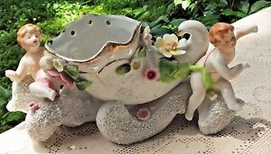 VINTAGE 1950's WALES HAND PAINTED PORCELAIN PLANTER WITH CHERUBS & FLOWERS