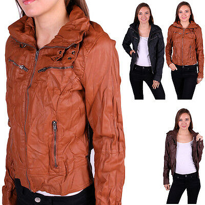Casual Slim Fit Motorcycle PU Faux Leather Vintage Jacket Bomber Biker Coat