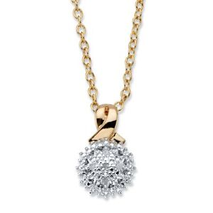 Round 14k Gold-Plated Diamond Accent Two-Tone Cluster Pendant Necklace 18