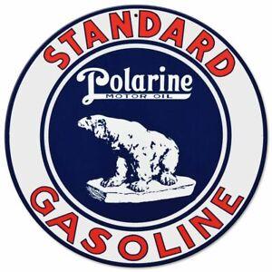 "STANDARD GAS POLARINE POLAR BEAR 14"" ROUND HEAVY DUTY USA MADE METAL GAS AD SIGN"