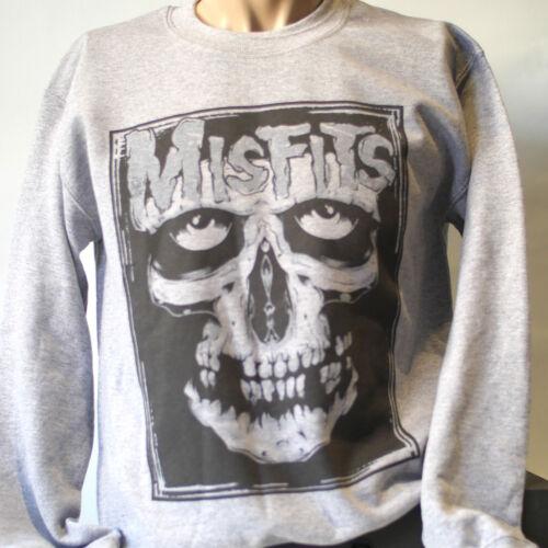 MISFITS PUNK ROCK METAl sweatshirt long sleeve JUMPER grey S-3XL