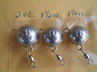9 Fluke Ear Ball Jigs, W/5 Crane Swivel, 56,40,36 Grams/2,1-1/2,1-1/4 Oz. 3 Ea