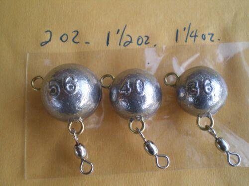 15 EA 45 Fluke Oreille Boule Jigs avec #5 grue pivotante 56,40,36 Grammes//2,1-1//2,1-1//4 oz environ 113.40 g