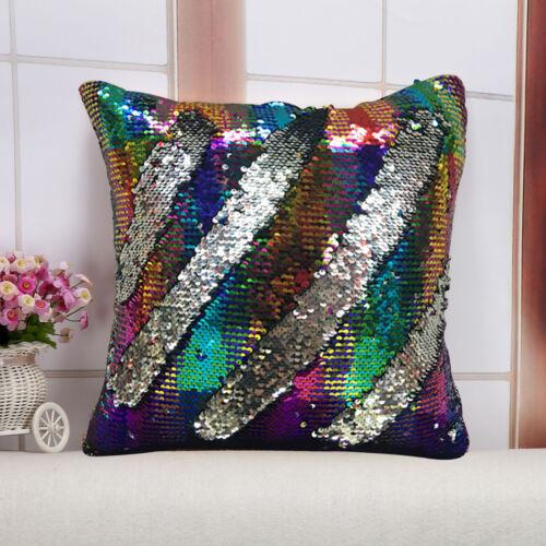 "16/"" Cushion Cover Mermaid Sequins Pillow Case Magic Reversible Sofa Car Decor UK"