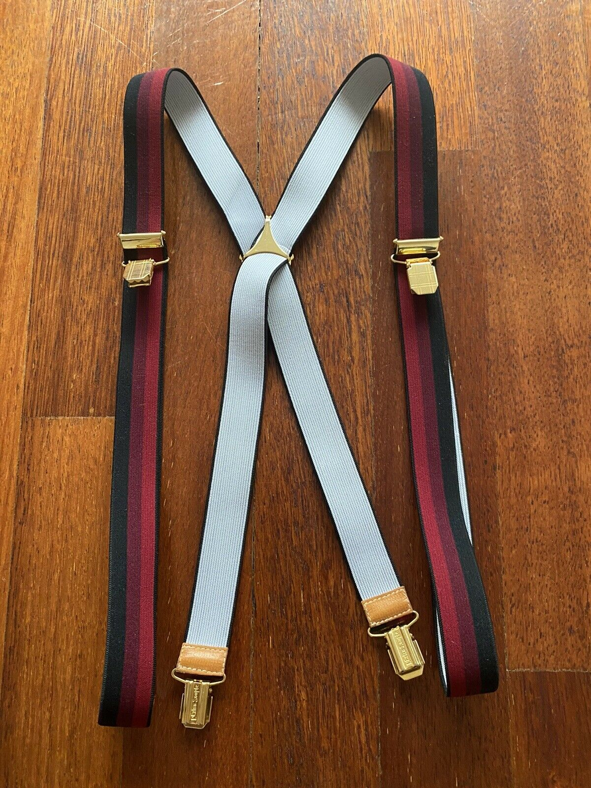 Mens Elegant Burgundy Braces With Leather Finishes Approx RRP (France)