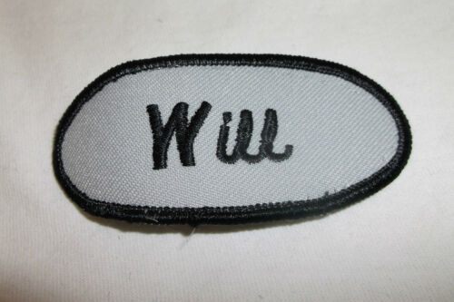 WILL USED EMBROIDERED VINTAGE SEW ON NAME PATCH TAG ASSORTED COLORS AVAILABLE