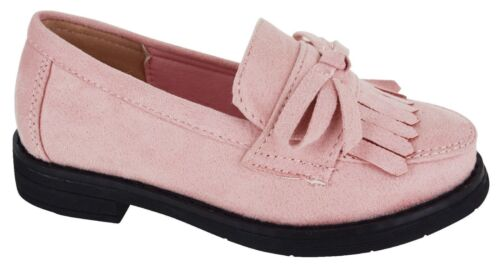 Neuf Filles École Chaussures Smart Mocassin Tassel Casual Slip On Kids Flats Ballet Taille