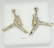 Iced Out Michael Jordan Jumpman Logo Gold CZ Stud Earrings In Gift Box