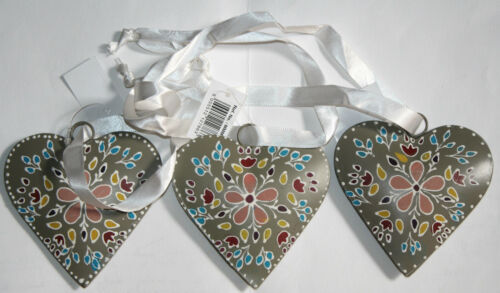3X Ribbon hanging metal heart hand made