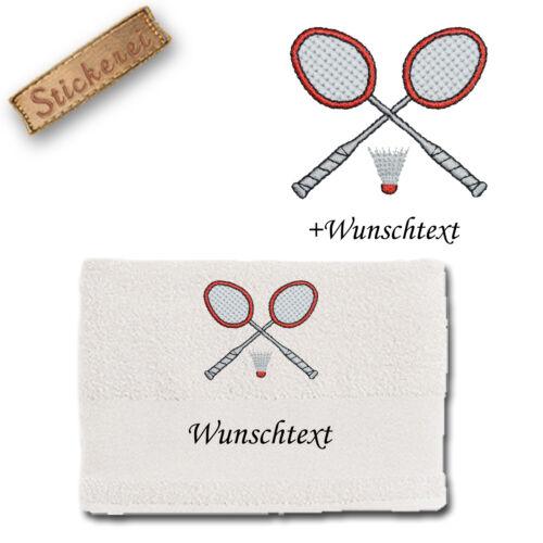 Handtuch Duschtuch FEDERBALL BADMINTON M2 Baumwolle bestickt Stickerei Name