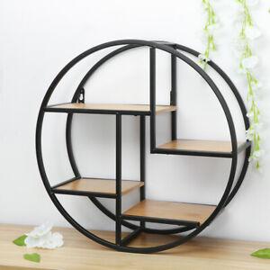 Round Wall Shelf, Wood & Iron Wall-Mounted Shelves, 4-Tier Floating Shelves