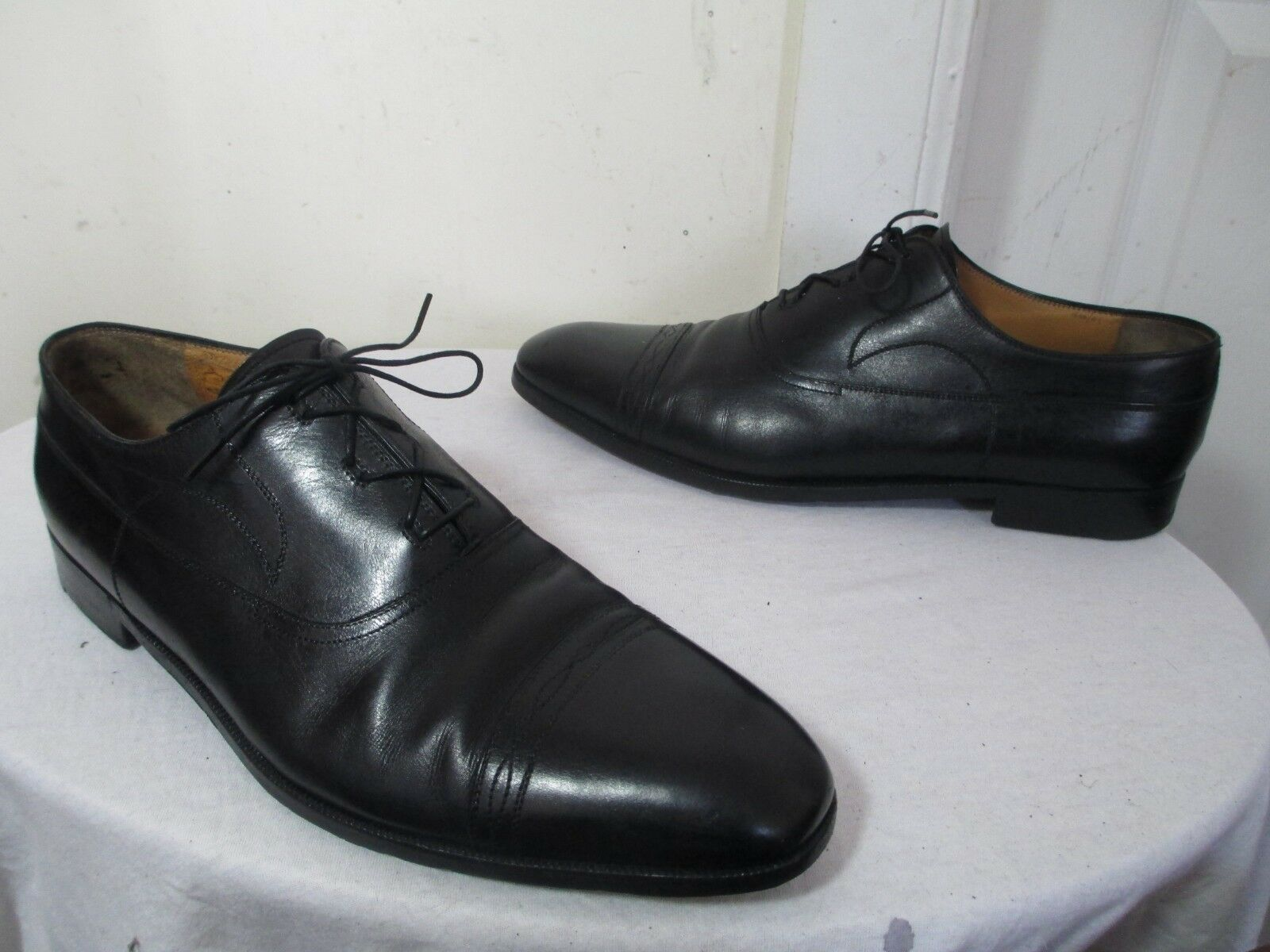 AUTHENTIQUE CHRISTIAN DIOR Hommes en Cuir Noir Cap Toe Chaussures 11 1 2 Made in