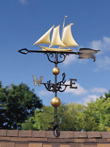 Island-Yacht-Weathervane-w-Arrow-Free-shipping-Boat-Sailing-Ship-wind-vane