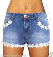 NEW Womens DISTRESS SHORTS Rip DAISY DENIM Ladies HOT PANTS Size 6 8 10 12 14