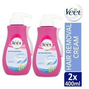 2 x Veet Silk & Fresh Hair Removal Cream 400ml For Sensitive Skin With Aloe Vera