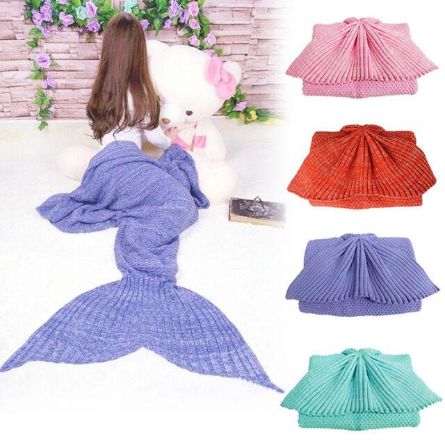 Mermaid Tail Sofa Blanket Super Soft Hand Crocheted Knitting Wool 3 Size Fashion