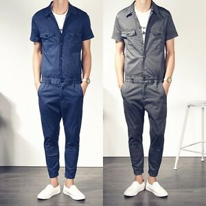 Image is loading Mens-Short-Sleeve-Rompers-Playsuit-Jumpsuit-Overalls-One- 533340bb146