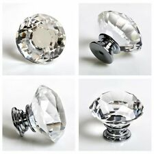 10 Diamond Crystal Glass Door Knobs 30mm Drawer Cabinet Furniture Handle Handle