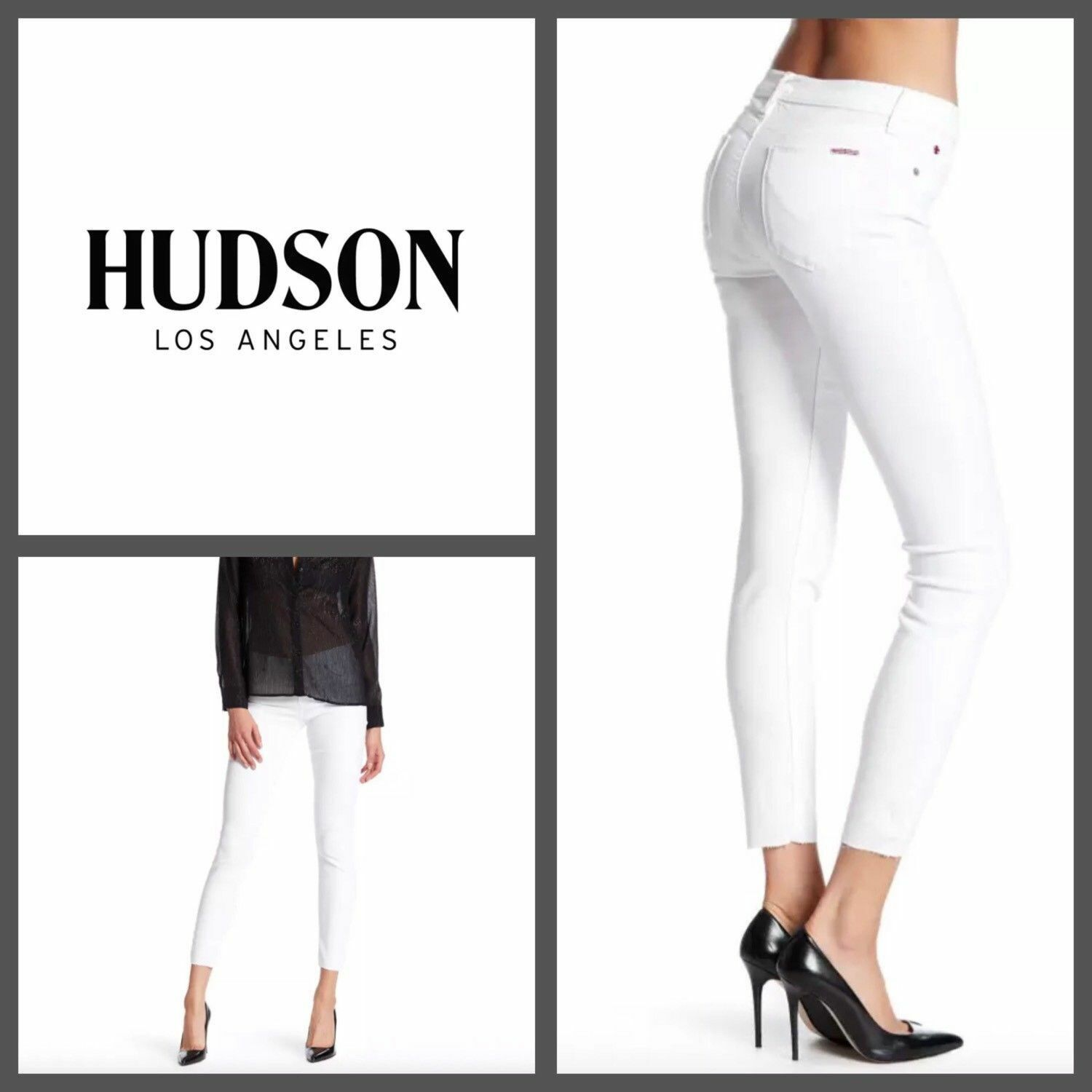 HUDSON Krista Ankle Super Skinny Stretch Raw Hem Jeans White Women's Sz 28  189