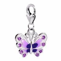 Butterfly Lavender Enamel Purple Rhinestone Clip On Dangle Charm For Bracelets