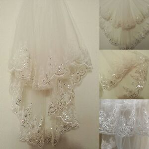 2T-White-Ivory-Lace-Bridal-Wedding-Veil-Sequins-Lace-Edge-With-Comb-Fingertip