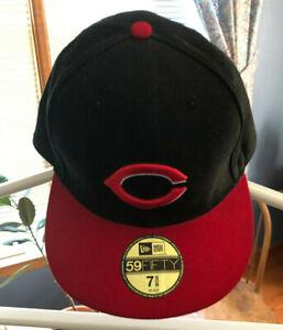 New Era Cincinnati Reds ALT 59Fifty Fitted Hat MLB Cap Black//Red