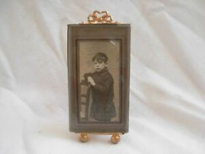 Antique French Gilt Brass Beveled Glass Photo Frameslate 19th