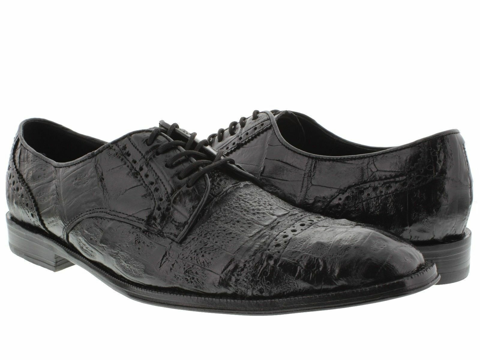 Men's Black Derby Dress shoes Real Crocodile Exotic Skin Leather