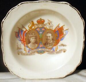 Silver Jubilee 1935 King George V Queen Mary Commemorative Plate Small Bowl Gilt