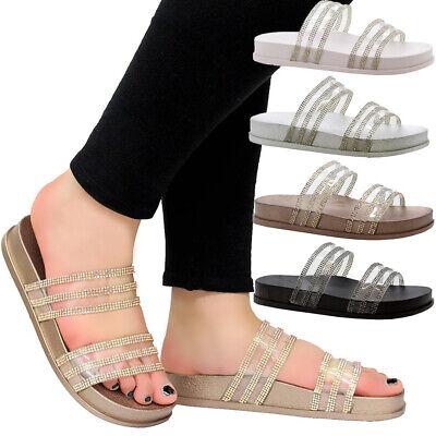 Womens Flats Diamante Sandals Perspex Ladies Sliders Summer Slip On Beach Shoes