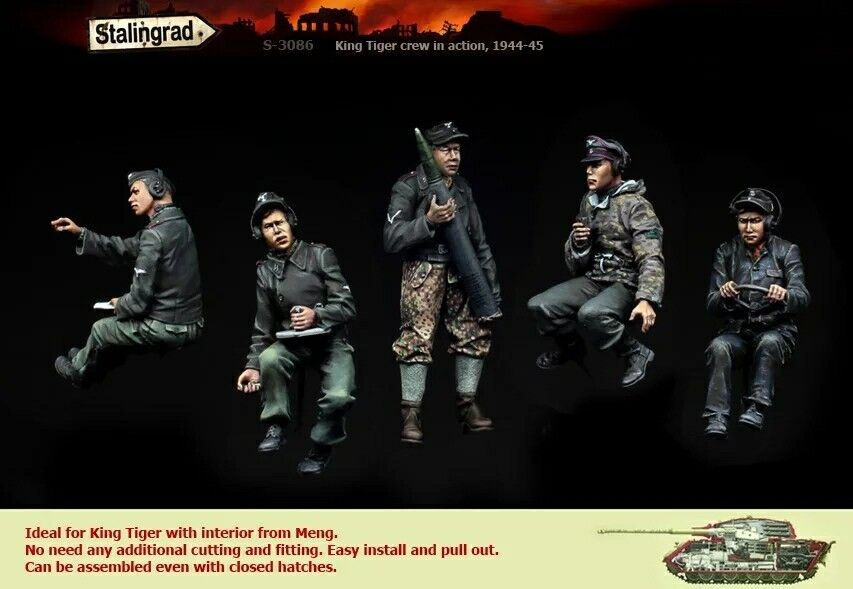 King Tiger Crew 1 35 1 35 Scale WWII Resin Model Figures Kit (5 Figures)