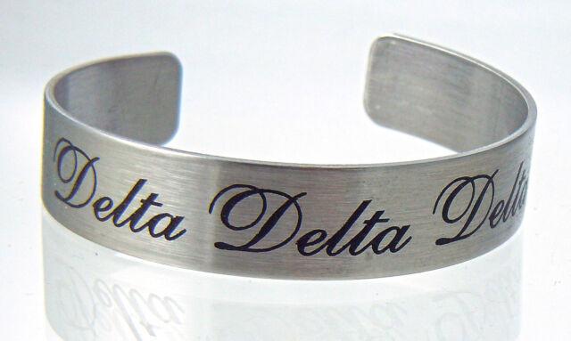 Delta Delta Delta, ΔΔΔ,Tri Delta, Stainless Steel 6 or 7 Inch Braggin' Bracelet
