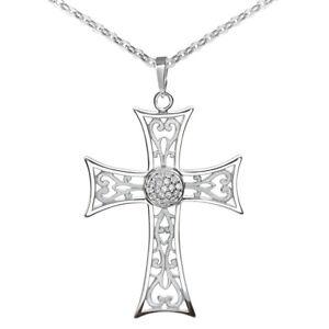 MATERIA-Damen-Kette-mit-Anhaenger-Kreuz-Ornament-Zirkonia-925-Silber-rhodiniert
