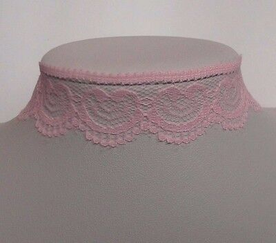 ext Pink Lace ribbon choker necklace vintage retro bridal prom 80s 90s 13.5in