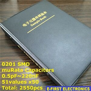 0201-SMD-Chip-Capacitors-Assorted-Kit-0-5pF-220nF-51Valuesx50-Sample-Book-muRata