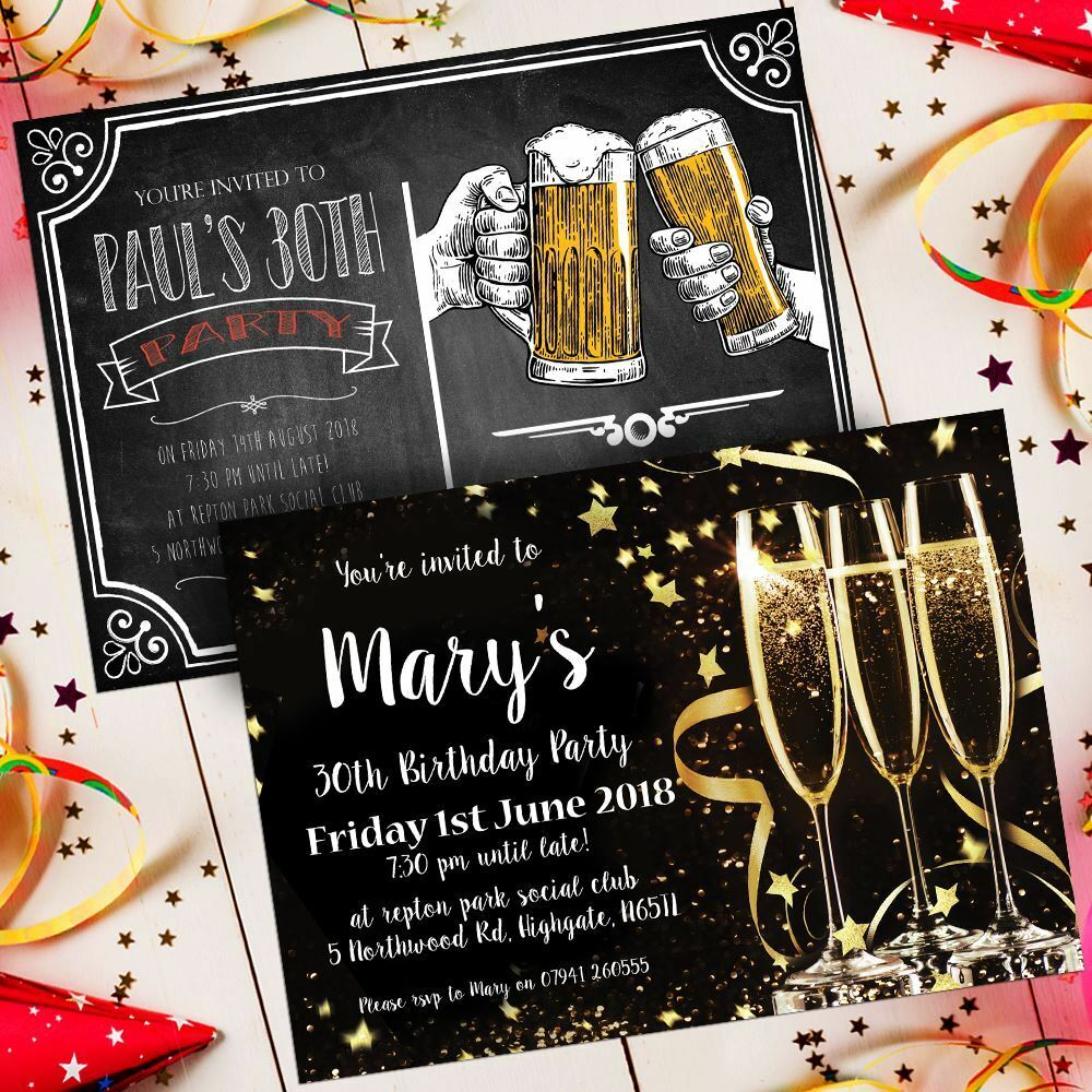 Drink Party Birthday Invitations Invites Personalised Envelopes 30 18th 21st 68d20c